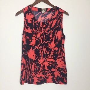 Anne Kline | Navy and Red Leaf Pattern Tank Top PL